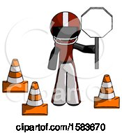 Black Football Player Man Holding Stop Sign By Traffic Cones Under Construction Concept