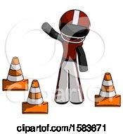 Black Football Player Man Standing By Traffic Cones Waving