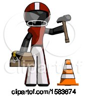 Black Football Player Man Under Construction Concept Traffic Cone And Tools