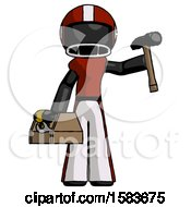 Black Football Player Man Holding Tools And Toolchest Ready To Work
