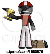 Black Football Player Man Holding Drill Ready To Work Toolchest And Tools To Right