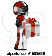 Black Football Player Man Giving A Present