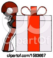 Black Football Player Man Gift Concept Leaning Against Large Present