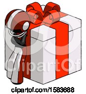 Black Football Player Man Leaning On Gift With Red Bow Angle View