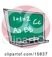 Chalkboard With Letter Of The Alphabet And Addition Written On It In A School Classroom Clipart Illustration