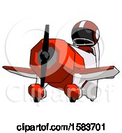 Black Football Player Man Flying In Geebee Stunt Plane Viewed From Below