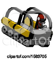 Black Football Player Man Driving Amphibious Tracked Vehicle Top Angle View