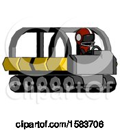 Black Football Player Man Driving Amphibious Tracked Vehicle Side Angle View