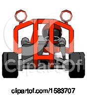 Black Football Player Man Riding Sports Buggy Front View