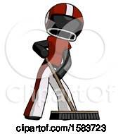 Black Football Player Man Cleaning Services Janitor Sweeping Floor With Push Broom