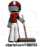 Black Football Player Man Standing With Industrial Broom