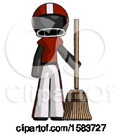 Black Football Player Man Standing With Broom Cleaning Services