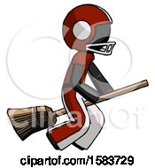 Black Football Player Man Flying On Broom