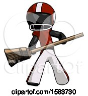 Black Football Player Man Broom Fighter Defense Pose