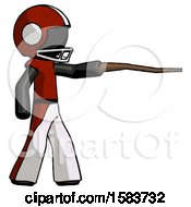 Black Football Player Man Pointing With Hiking Stick