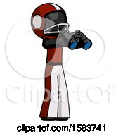 Black Football Player Man Holding Binoculars Ready To Look Right