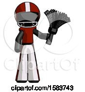 Black Football Player Man Holding Feather Duster Facing Forward