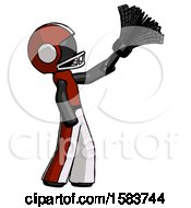 Black Football Player Man Dusting With Feather Duster Upwards