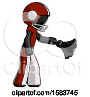 Black Football Player Man Dusting With Feather Duster Downwards