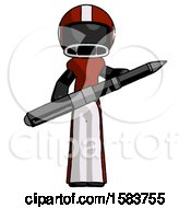 Black Football Player Man Posing Confidently With Giant Pen