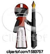 Black Football Player Man Holding Giant Calligraphy Pen