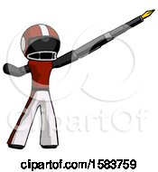 Black Football Player Man Pen Is Mightier Than The Sword Calligraphy Pose