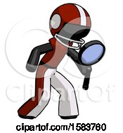 Black Football Player Man Inspecting With Large Magnifying Glass Right