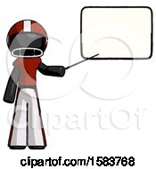 Black Football Player Man Giving Presentation In Front Of Dry Erase Board