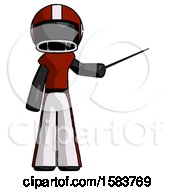 Black Football Player Man Teacher Or Conductor With Stick Or Baton Directing