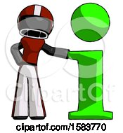 Black Football Player Man With Info Symbol Leaning Up Against It