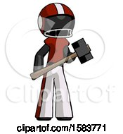 Black Football Player Man With Sledgehammer Standing Ready To Work Or Defend