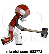 Black Football Player Man Hitting With Sledgehammer Or Smashing Something