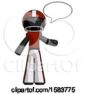 Black Football Player Man With Word Bubble Talking Chat Icon