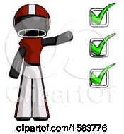 Black Football Player Man Standing By List Of Checkmarks