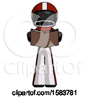 Black Football Player Man Reading Book While Standing Up Facing Viewer