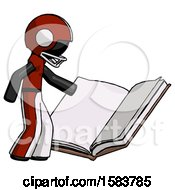 Black Football Player Man Reading Big Book While Standing Beside It