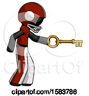 Black Football Player Man With Big Key Of Gold Opening Something
