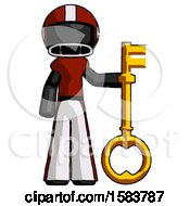 Black Football Player Man Holding Key Made Of Gold