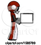 Black Football Player Man Show Tablet Device Computer To Viewer Blank Area