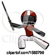 Black Football Player Man With Ninja Sword Katana In Defense Pose
