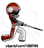 Black Football Player Man With Ninja Sword Katana Slicing Or Striking Something