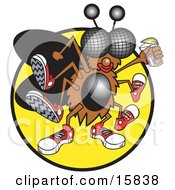 Thirsty Green Fly Wearing Sneakers And Holding A Glass Of Pink Lemonade Clipart Illustration