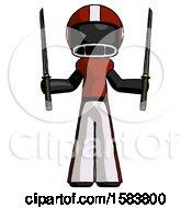 Black Football Player Man Posing With Two Ninja Sword Katanas Up