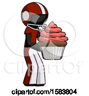 Black Football Player Man Holding Large Cupcake Ready To Eat Or Serve
