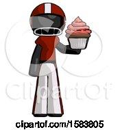 Black Football Player Man Presenting Pink Cupcake To Viewer