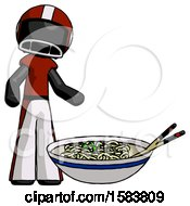 Black Football Player Man And Noodle Bowl Giant Soup Restaraunt Concept