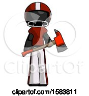 Black Football Player Man Holding Red Fire Fighters Ax
