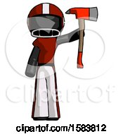 Black Football Player Man Holding Up Red Firefighters Ax