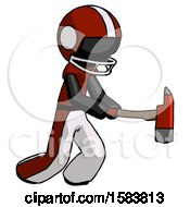 Black Football Player Man With Ax Hitting Striking Or Chopping