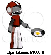 Black Football Player Man Frying Egg In Pan Or Wok Facing Right